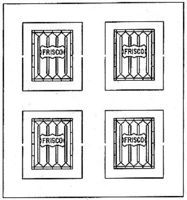 American-Models Etched Lavatory Windows for a Coach Car SL - SF HO Scale Model Train Passenger Car Part #360