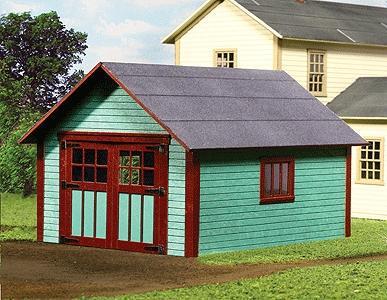 Single car garage laser cut wood kit o scale model for Single car garage kit