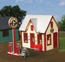 American-Models All-American Gas Station Kit - 4-1/2 x 3 x 4 O Scale Model Railraod Building #492