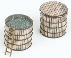 American-Models Real Wood Storage Vat Kit (4) N Scale Model Railroad Building Accessory #518
