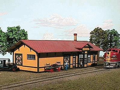 American Models Santa Fe 3 Standard 1 Story Depot Kit N Scale Model Railroad Building 607