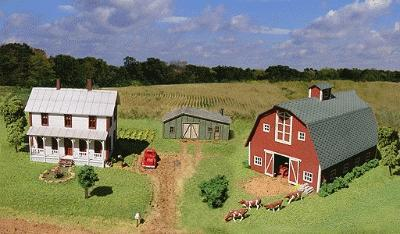 American-Models Midwest Farm Combo Kit N Scale Model Railroad Building #614