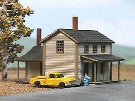 American-Models Two-Story Section House Kit - 2 x 2-1/2 x 1-1/2 N Scale Model Railroad Building #628