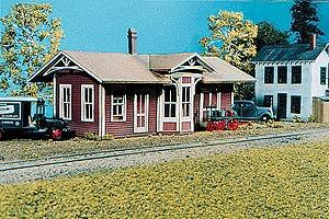 American-Models Springfield Depot Kit - 3 x 1-1/4 x 1-1/4 N Scale Model Railroad Building #638