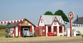 American-Models All American Service Station Kit HO Scale Model Railroad Building #723