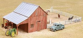 American-Models Implement Barn w/Corral Kit HO Scale Model Railroad Building #726