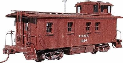 American Model Builders Wood Caboose - Kit Atchison, Topeka & Santa Fe -- HO Scale Model Train Freight Car -- #865