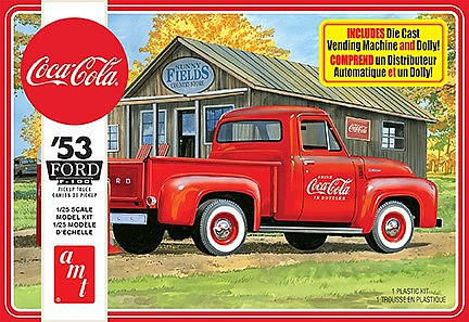 AMT 1953 Ford Pickup, Coca Cola 2T Plastic Model Truck Kit 1/25 Scale #1144m