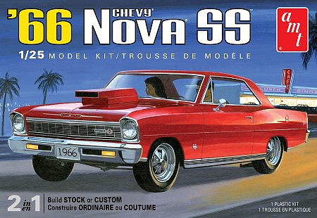 AMT 1966 Chevy Nova SS 2T 1/25 Scale Hobby Model Car Vehicle #1198