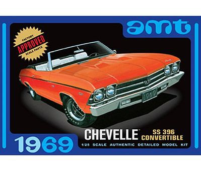 AMT/ERTL 1969 CHEVELLE CONVERTIBLE -- Plastic Model Car Truck Vehicle Kit -- 1/25 Scale -- #823