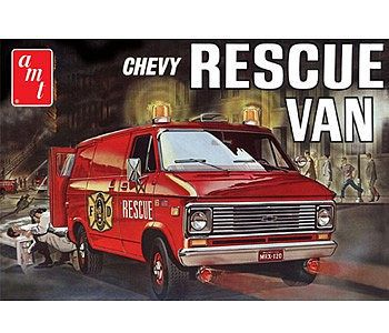 AMT/ERTL 1975 Chevy Rescue Van (Red) -- Plastic Model Car Truck Vehicle Kit -- 1/25 Scale -- #851