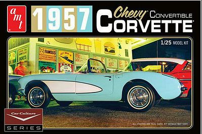 AMT/ERTL 1957 Corvette Convertible White C.Lewis -- Plastic Model Car Kit -- 1/25 Scale -- #1015-12