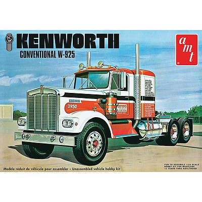 AMT/ERTL Kenworth W925 Conventional Semi Tractor -- Plastic Model Truck Kit -- 1/25 Scale -- #1021
