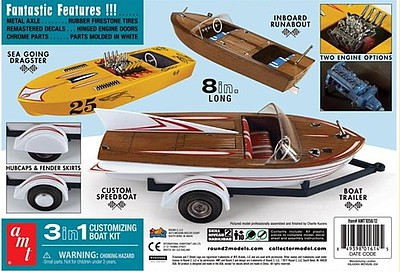 AMT Customizing Boat Runabout Speedboat Dragster 3in1 1//25 model kit new 1056