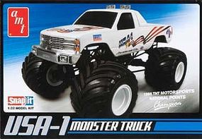 USA-1 4x4 Monster Truck w/Decals Plastic Model Monster Truck Kit 1/32 Scale #672