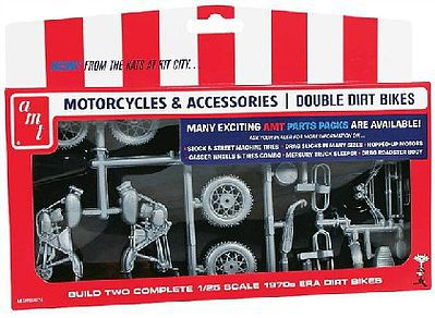 AMT/ERTL Double Dirt Bike Motorcycle Parts Pack -- Plastic Model Vehicle Accessory -- 1/25 Scale -- #pp14