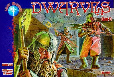 Alliance Figures Dwarves Set #1 Mythical Figures (44) -- Plastic Model Fantasy Figure -- 1/72 Scale -- #72007