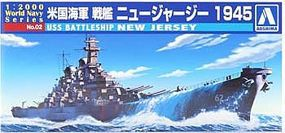 Aoshima USS Battleship New Jersey Plastic Model Military Ship 1/2000 Scale #009338