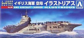 Aoshima HMS Aircraft Carrier Illustrious Plastic Model Military Ship 1/2000 Scale #009390