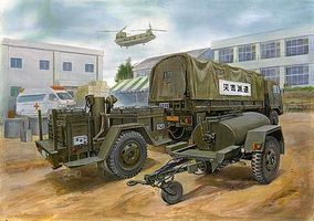 Aoshima JGSDF 3.5ton UCK with wagon Plastic Model Military Vehicle 1/72 Scale #02353