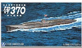 Aoshima Ironclad Japanese I370 Submarine Plastic Model Ship Kit 1/350 Scale #05699