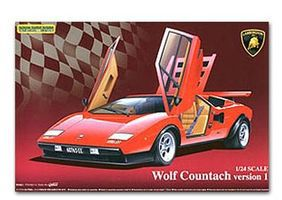Aoshima Lamborghini Wolf Countach Sports Car Plastic Model Car Kit 1/24 Scale #449600