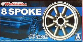 Aoshima 1/24 Watanabe 8-Spoke 16 Tire & Wheel Set (4)