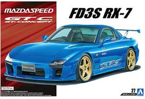 Aoshima 1/24 1999 Mazda RX-7 GT-C 2-Door Car w/Custom Gold Wheels