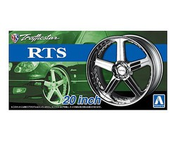 Aoshima Traffiicstar RTS 20'' Tire & Wheel Set (4) Plastic Model Tire Wheel 1/24 Scale #53706