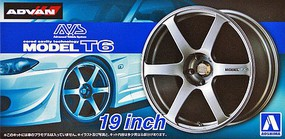 Aoshima AVS Model T6 19'' Tire & Wheel Set (4) Plastic Model Tire Wheel 1/24 Scale #53799