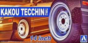 Aoshima 1/24 Kakou Tecchin Type-2 14 Tire & Wheel Set (4)