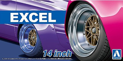 Aoshima Excel 14 Tire & Wheel Set (4) Plastic Model Tire Wheel 1/24 Scale #54710