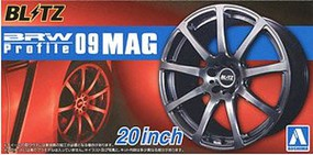 Aoshima BRW Profile 09 MAG 20'' Tire & Wheel Set (4) Plastic Model Tire Wheel 1/24 Scale #55182