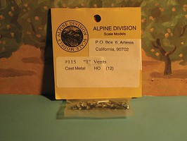Alpine Cast metal ''T'' vents  12/ HO-Scale (12)