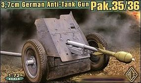 Ace German 3.7cm Pak 35/36 Anti-Tank Gun Plastic Model Artillery Kit 1/72 Scale #72241