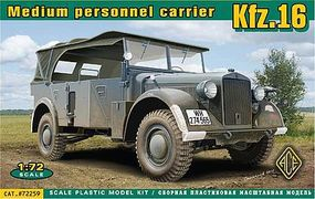 Ace Kfz 16 Medium Personnel Carrier Plastic Model Military Staff Car 1/72 Scale #72259