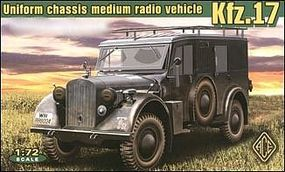 Ace Kfz17 Uniform Chassis Medium Radio Vehicle Plastic Model Military Staff Kit 1/72 #72260