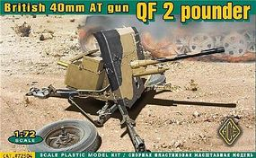Ace British QF 2-Pdr 40mm AT Gun Plastic Model Artillery Kit 1/72 Scale #72504