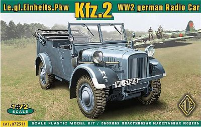 Ace Plastic Models Kfz2 WWII German Radio Car -- Plastic Model Personnel Carrier Kit -- 1/72 Scale -- #72511