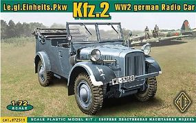 Ace Kfz2 WWII German Radio Car Plastic Model Personnel Carrier Kit 1/72 Scale #72511