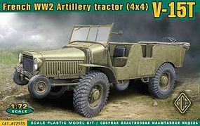 Ace V15T 4x4 WWII French Artillery Tractor Plastic Model Military Vehicle Kit 1/72 Scale #72535