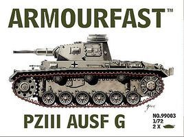 Armourfast Panzer III Ausf G Tank (2) Plastic Model Tank Kit 1/72 Scale #99003