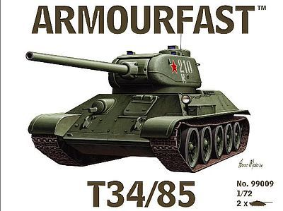 Armourfast Russian T34/85 Tank (2) Plastic Model Tank Kit 1/72 Scale #99009