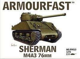 Armourfast Sherman M4A3 Tank w/76mm Gun (2) Plastic Model Tank Kit 1/72 Scale #99012