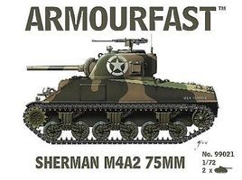 Armourfast Sherman M4A2 75mm Tank (2) Plastic Model Tank Kit 1/72 Scale #99021