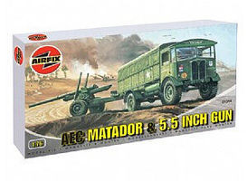 Airfix AEC Matador 4x4 Truck & 5.5 Gun Plastic Model Military Vehicle Kit 1/76 Scale #01314