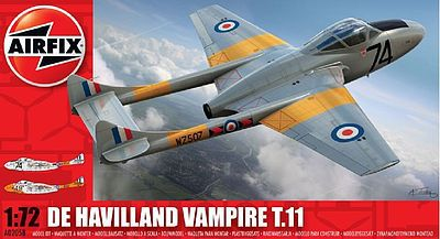 Airfix DH Vampire Plastic Model Airplane Kit 1/72 Scale #02058