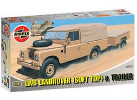 Airfix LWB Soft Top Landrover w/Two-Wheeled Trailer Plastic Model Military Vehicle Kit 1/76 #02322