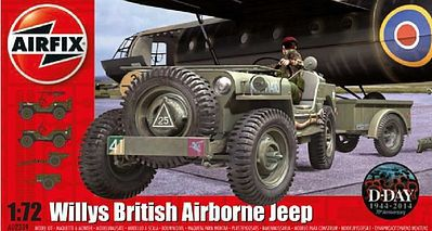 Airfix Willys Jeep, Trailer & 6-Pdr Gun -- Plastic Model Military Vehicle Kit -- 1/72 Scale -- #2339