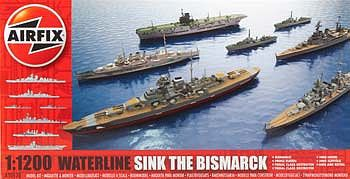 Airfix Sink/Bismarck Waterline Battleships -- Plastic Model Military Ship Kit -- 1/1200 Scale -- #50120